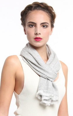 Close up snowy white grey detail 100% pure cashmere scarf styled around neck