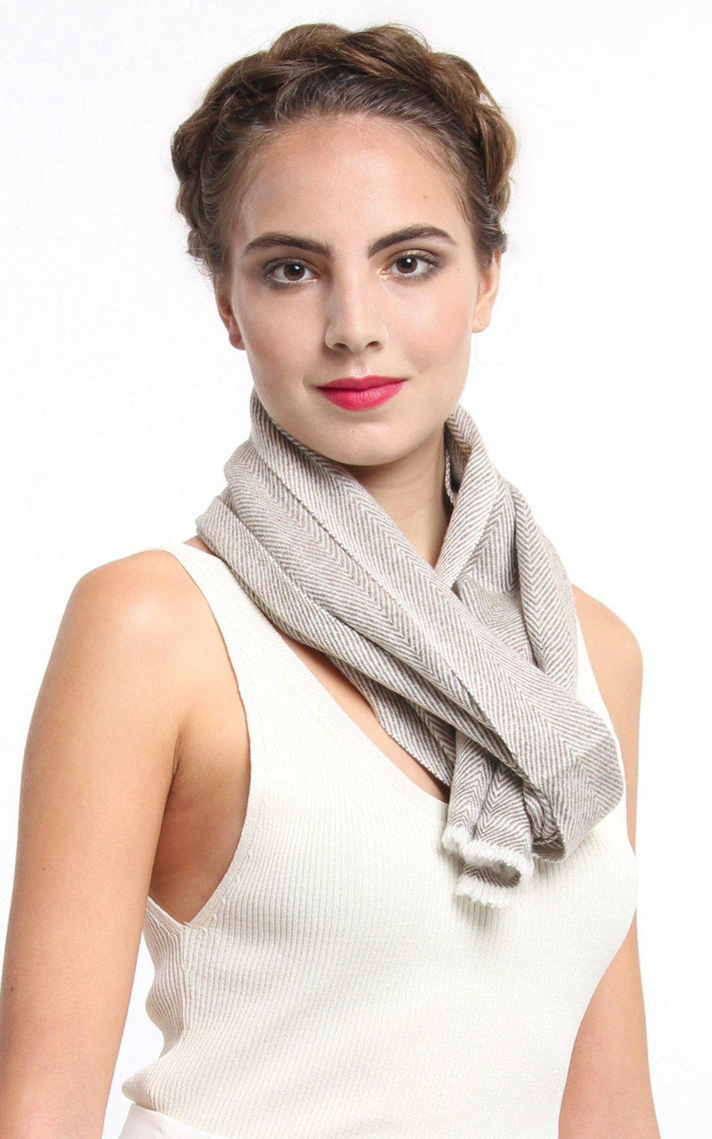 Brown Cashmere Skinny Scarf - CMM2, The Little Tibet