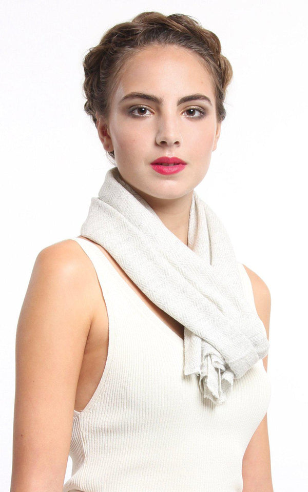 Light Grey Cashmere Skinny Scarf - CMM4, The Little Tibet