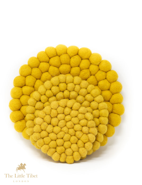 Mustard Yellow Felt Ball Cushion for Singing Bowls-The Little Tibet