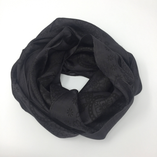 dark neutral 100% silk scarf with dark grey square pattern