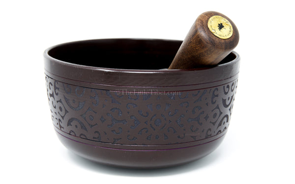 small black aluminium singing bowl sound therapy chakra realigning himalayan instrument