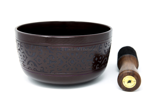 small black aluminium singing bowl sound therapy himalayan instrument  with stick
