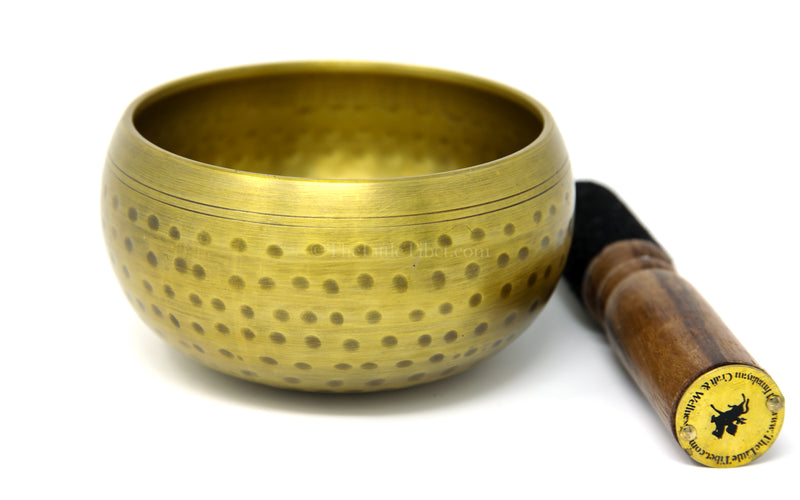 large gold brass singing bowl sound therapy chakra realigning himalayan instrument