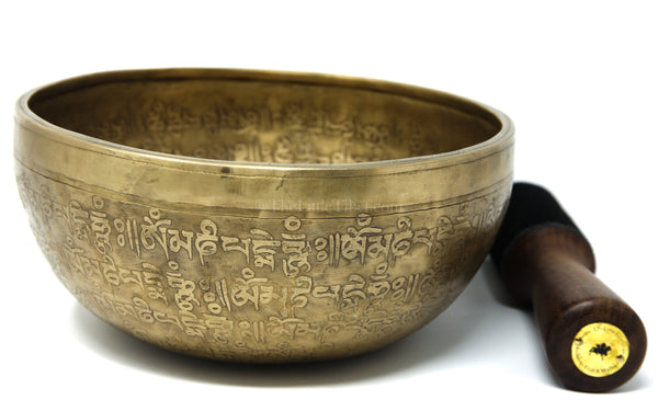 Om Mani Pad Me Hum Hand hammered alloy tibetan singing bowl g pitch meditation