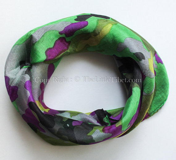 Green Camouflage Square Silk Scarf small-Code: SS06B