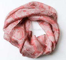 "Light Coral Square Silk Scarf, 100% silk 20"" x 20-Code: SS01B - The Little Tibet"