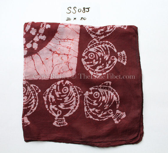 tie dye pattern close up 100% pure silk luxury fall maroon red square scarf