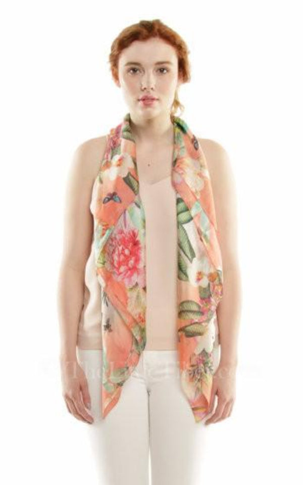 100% pure silk with floral peach green pink detail draped around shoulders