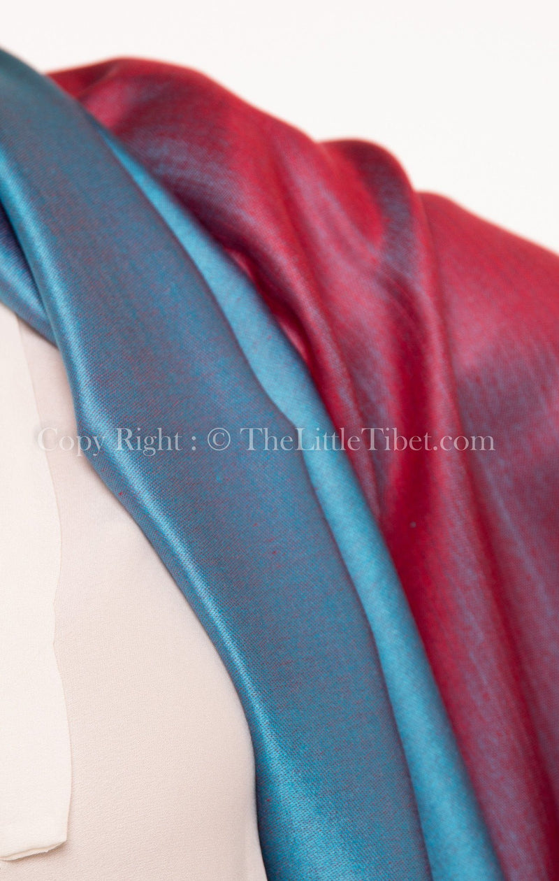 Luxury 100% pure burgundy teal  blue  reversible pashmina close up