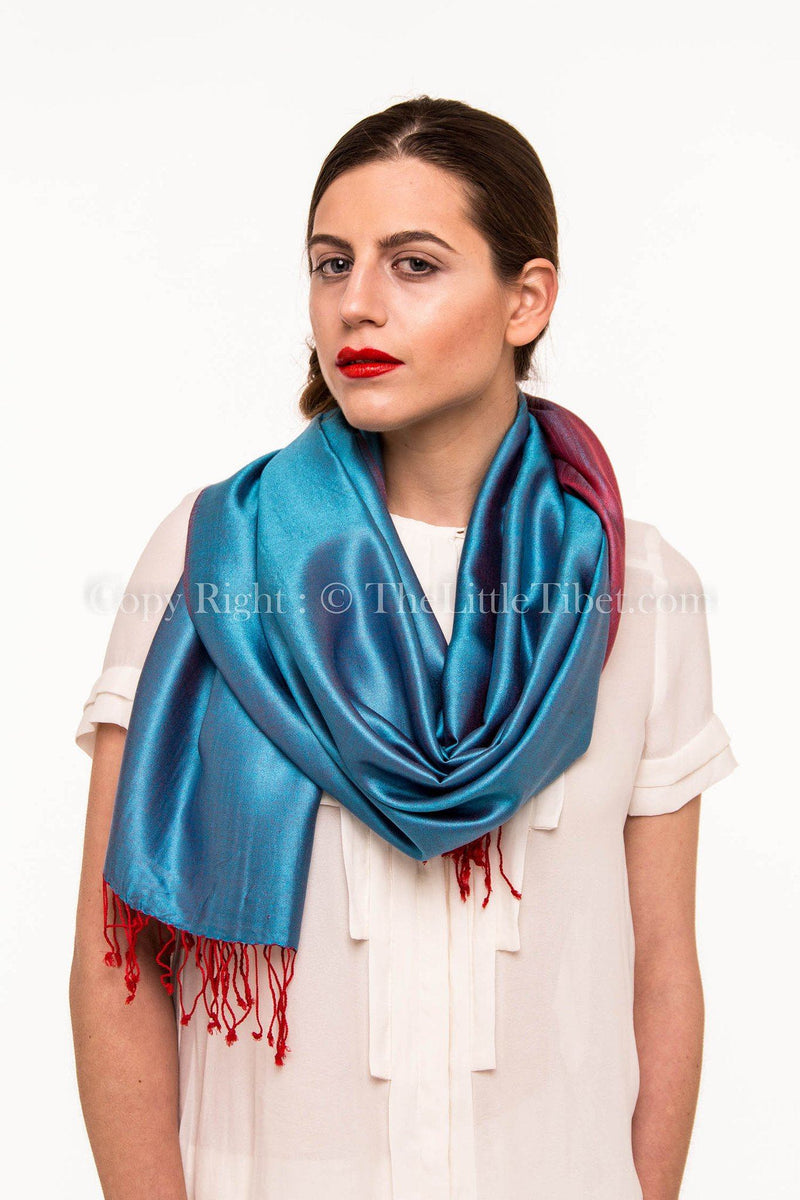 Luxury 100% pure burgundy teal  blue  reversible pashmina with tassels