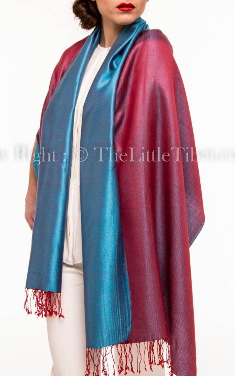 Luxury 100% pure burgundy teal  blue  reversible pashmina draped around shoulders