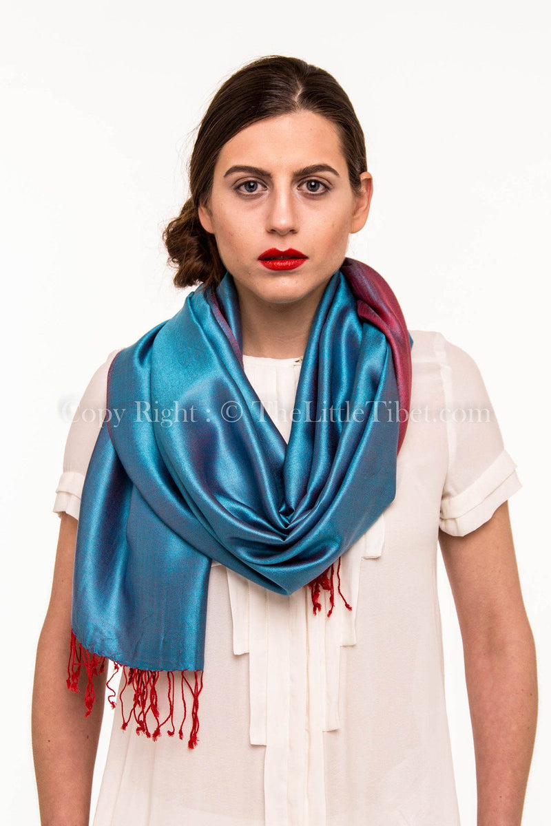 Luxury 100% pure burgundy teal  blue  reversible pashmina free uk shipping