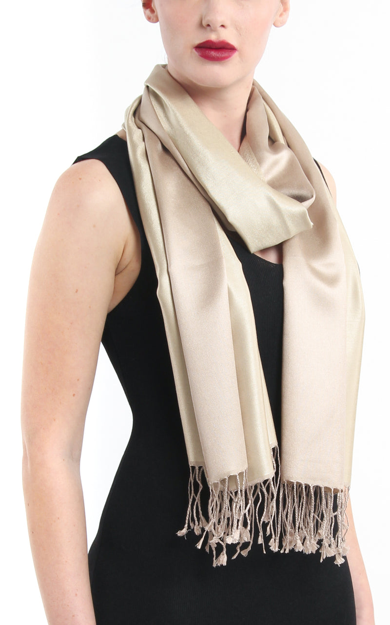 Luxury 100% pure  Silk cream pashmina with tassels close up