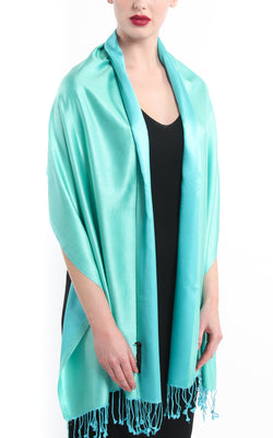 Luxury 100% pure light green aqua blue  reversible pashmina draped around shoulders