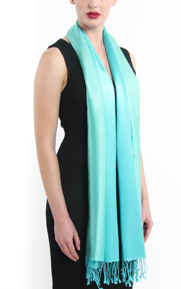 Luxury 100% pure light green aqua blue  reversible pashmina free uk shipping