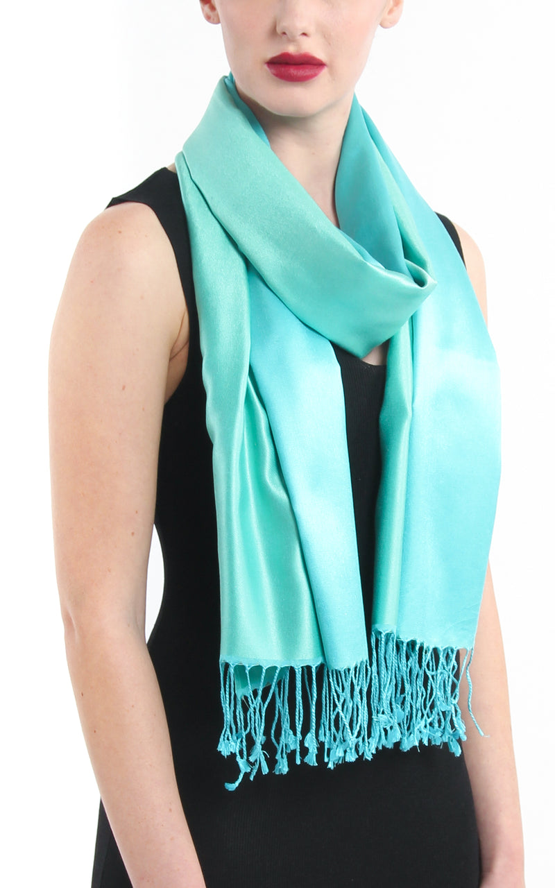 Luxury 100% pure light green aqua blue  reversible pashmina with tassels