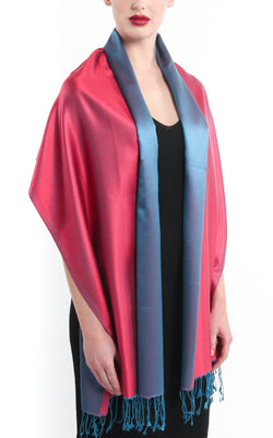 Luxury 100% pure silk cool red blue reversible pashmina draped around shoulders