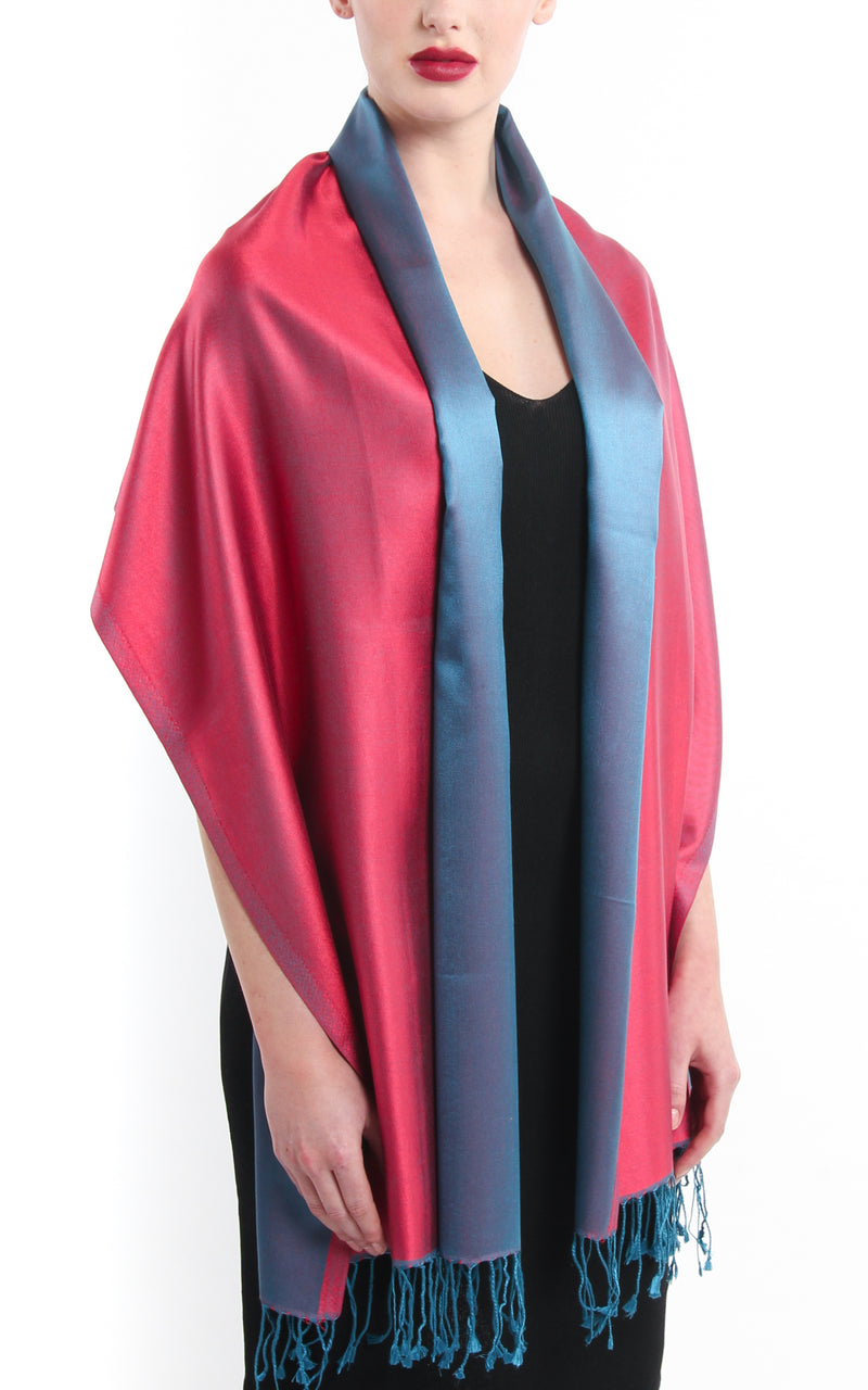 Luxury 100% pure silk cool red blue reversible pashmina silk scarf draped around shoulders