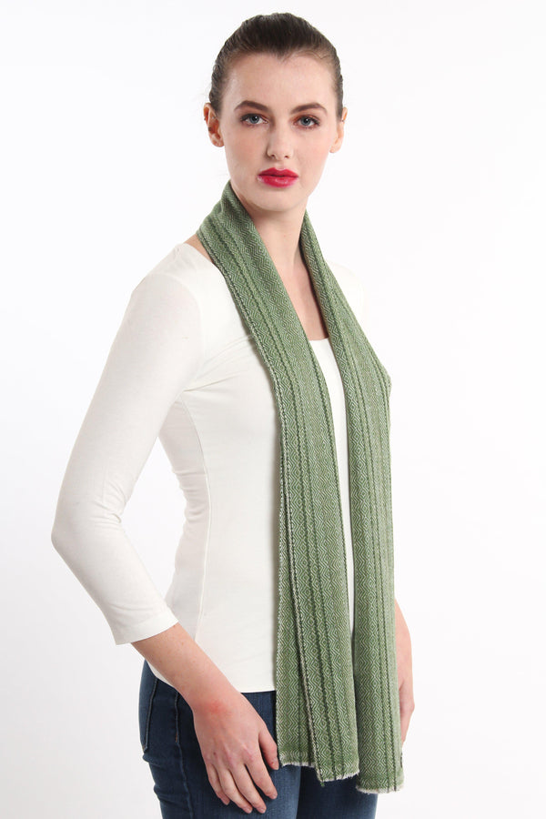 olive green diamond  detail  skinny 100% pure cashmere scarf draped around shoulders