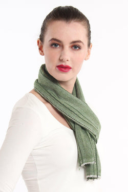 close up olive green diamond  detail  skinny 100% pure cashmere scarf