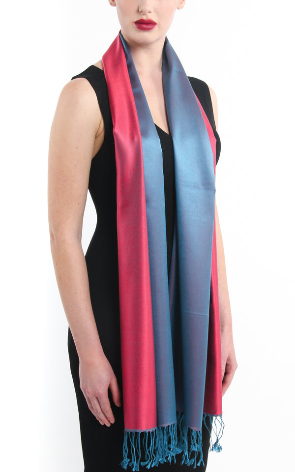 Luxury 100% pure silk cool red blue reversible pashmina silk scarf free uk shipping