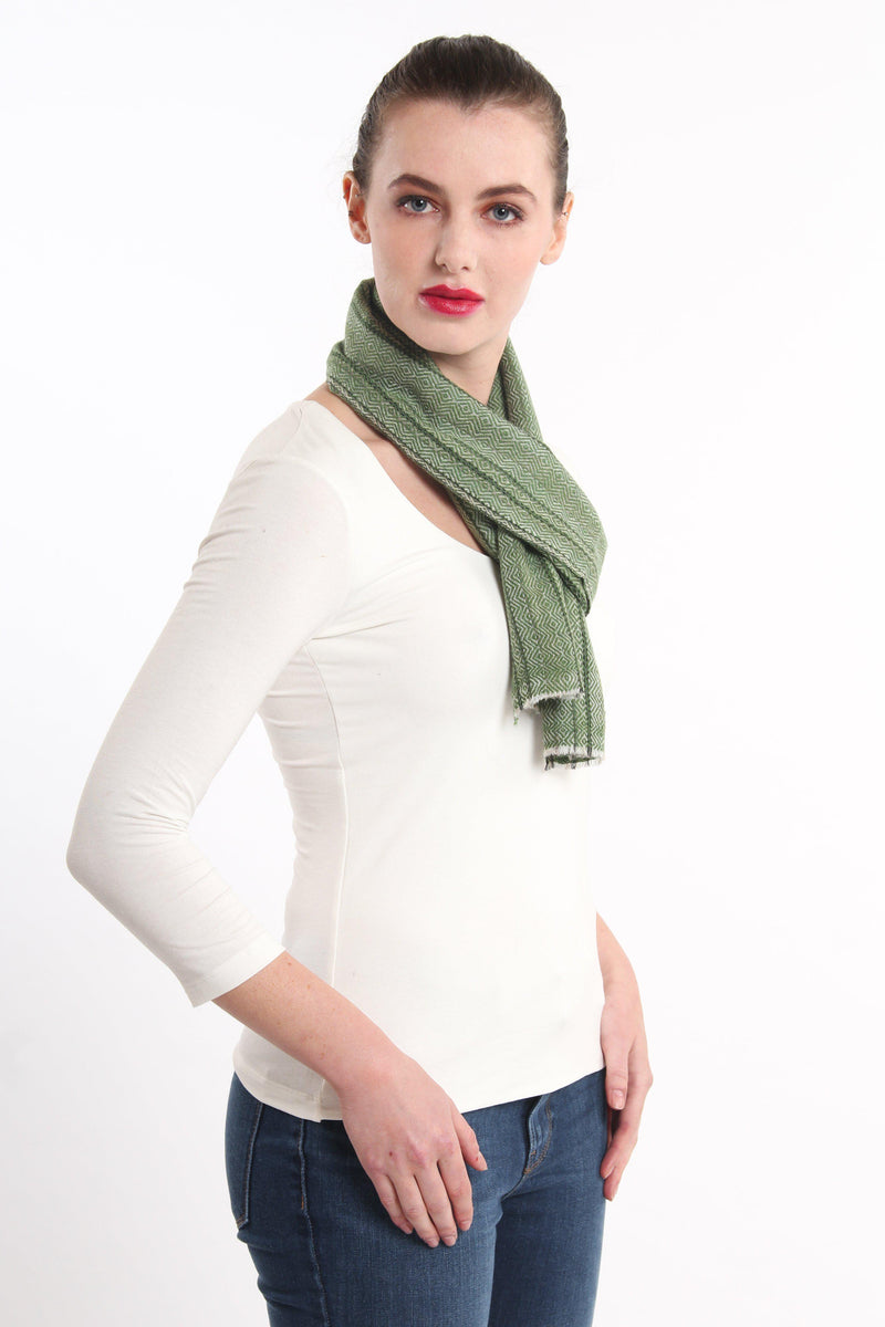 olive green diamond  detail  skinny 100% pure cashmere scarf styled around neck