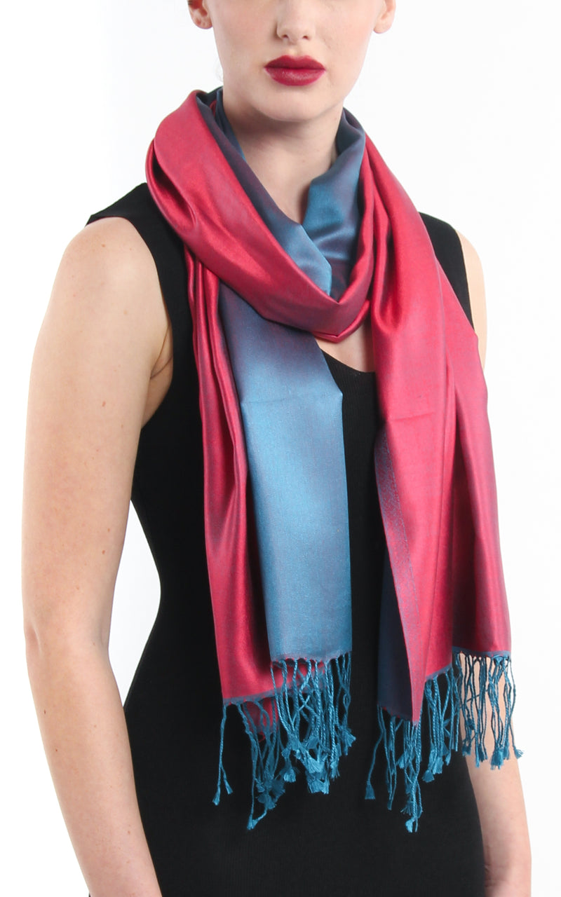 Luxury 100% pure silk cool red blue reversible pashmina silk scarf with tassels