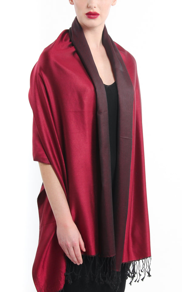 Luxury 100% pure silk red burgundy reversible pashmina draped around shoulders