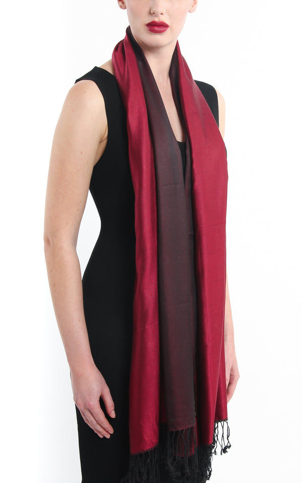 Luxury 100% pure silk red burgundy reversible pashmina with tassels