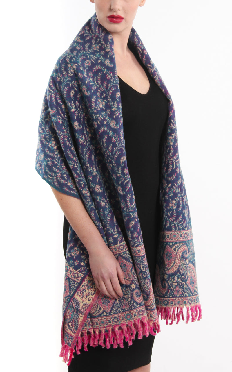 Blue beige cream paisley patterned  blanket scarf reversible  tibet shawl pink tassels draped on shoulders
