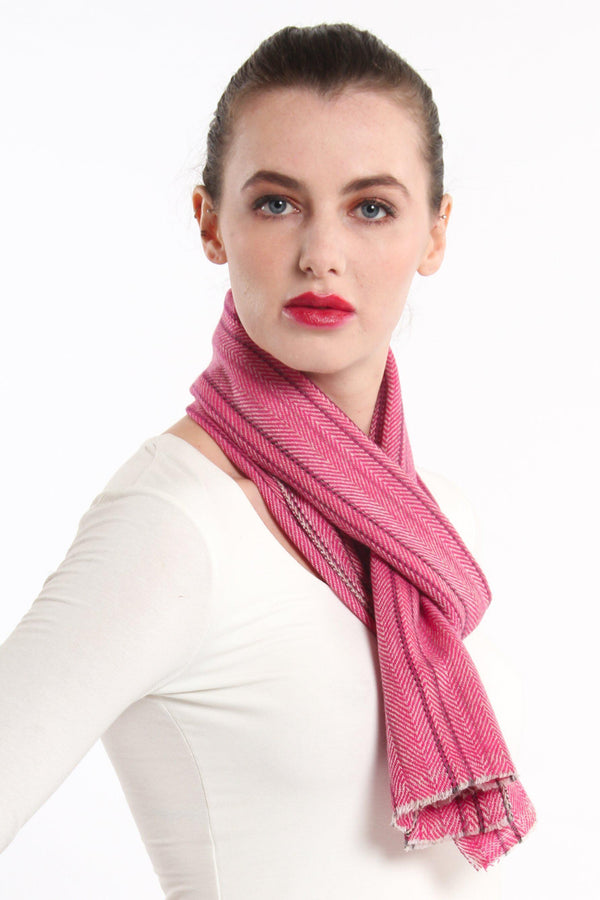 close up pink stripe detail skinny 100% pure cashmere scarf