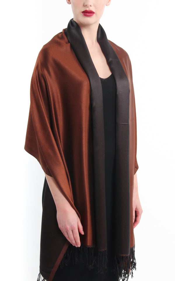 Luxury 100% pure  rich brown black  reversible pashmina draped around shoulders