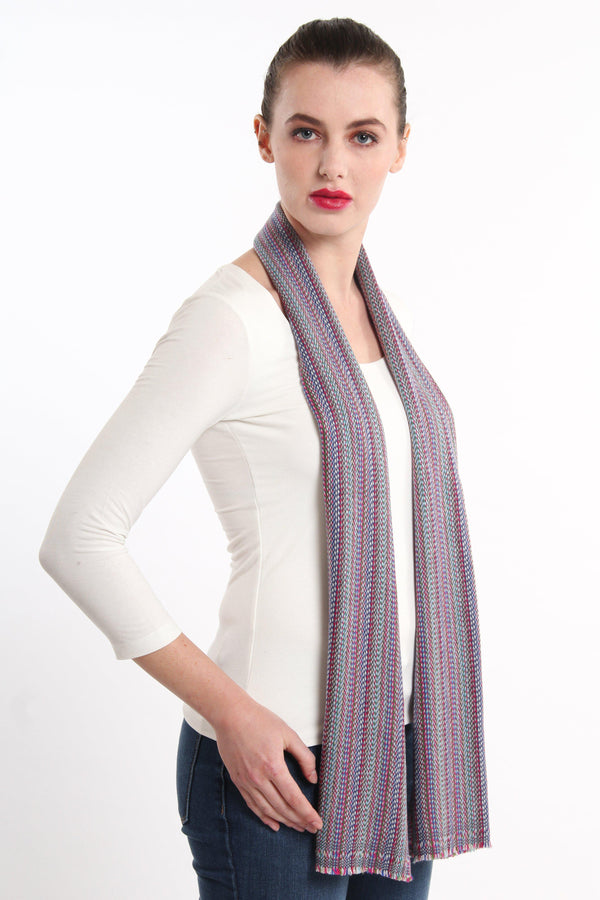 Blue Stripes Skinny Cashmere Scarf (CMMB), The Little Tibet