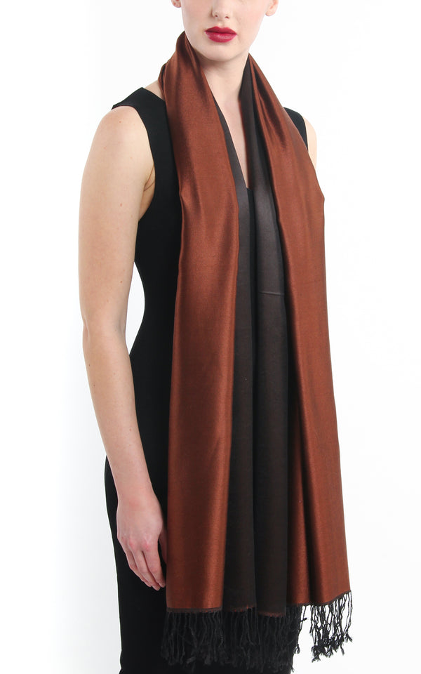 Luxury 100% pure  rich brown black  reversible pashmina free uk shipping