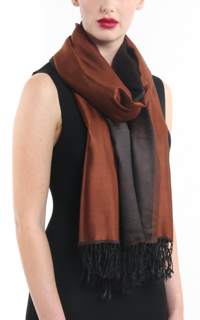 Luxury 100% pure  rich brown black  reversible pashmina with tassels