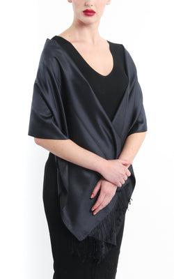Luxury 100% pure  rich  black  reversible pashmina draped around shoulders