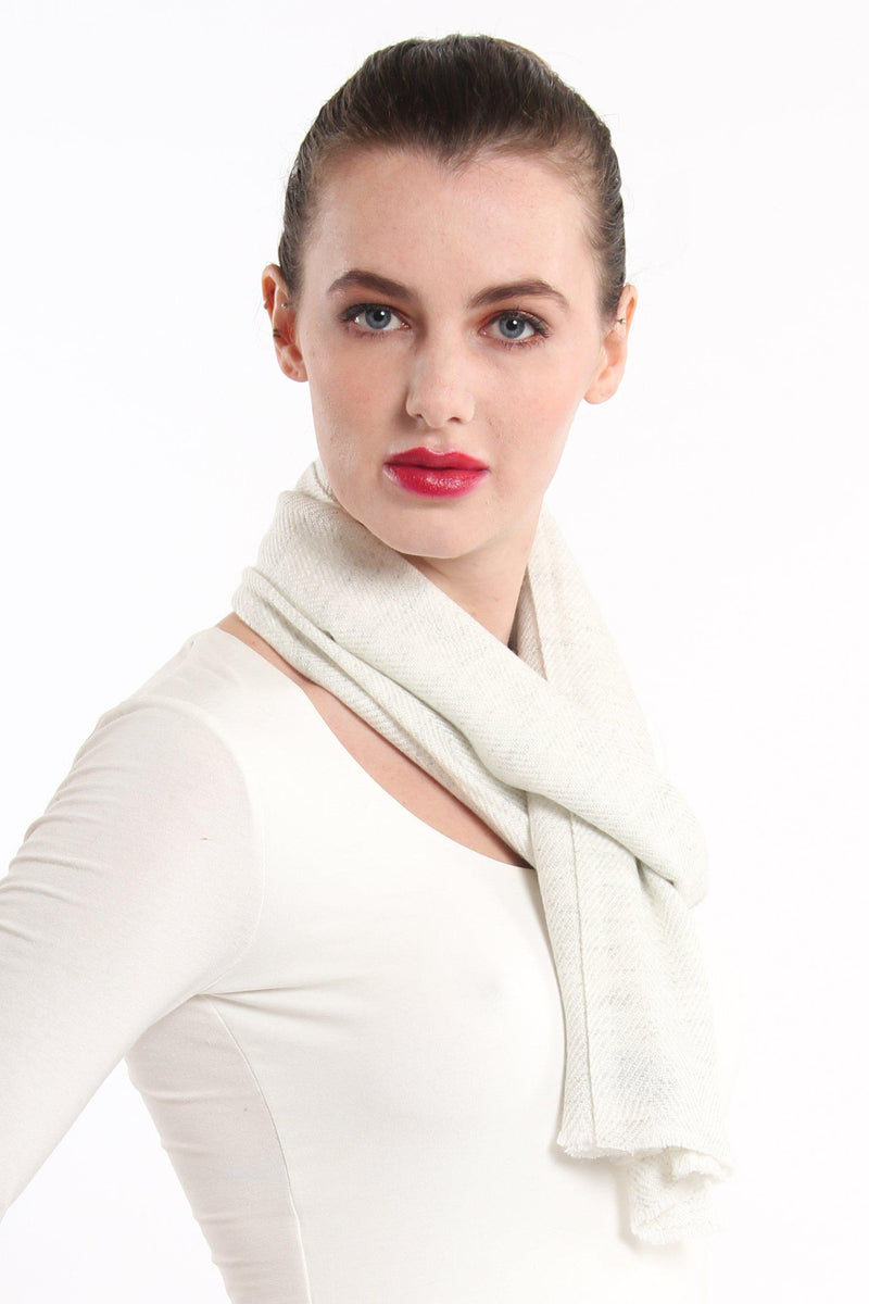 close up white neutral skinny 100% pure cashmere scarf