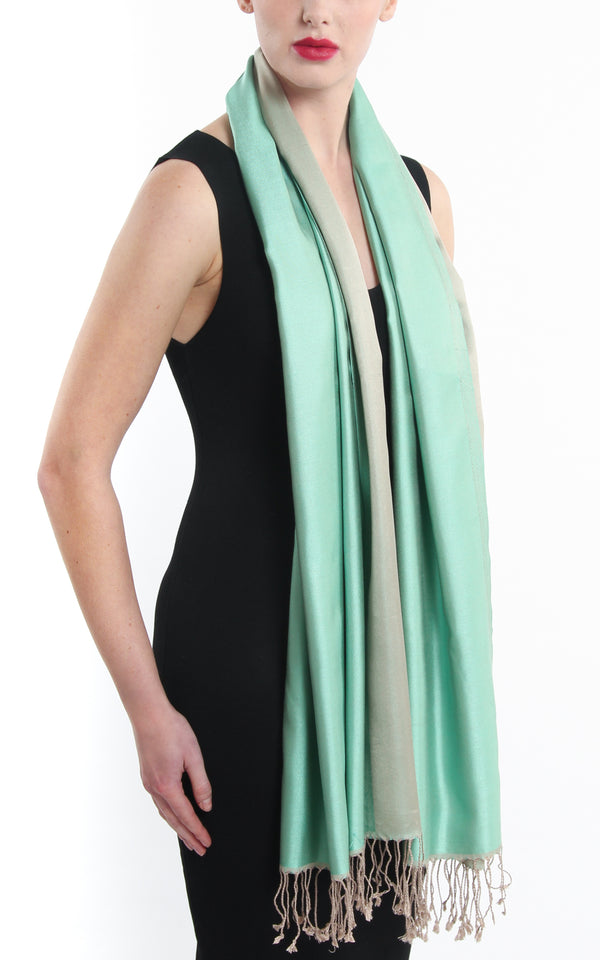 100% pure  Silk mint green cream  reversible pashmina draped around neck