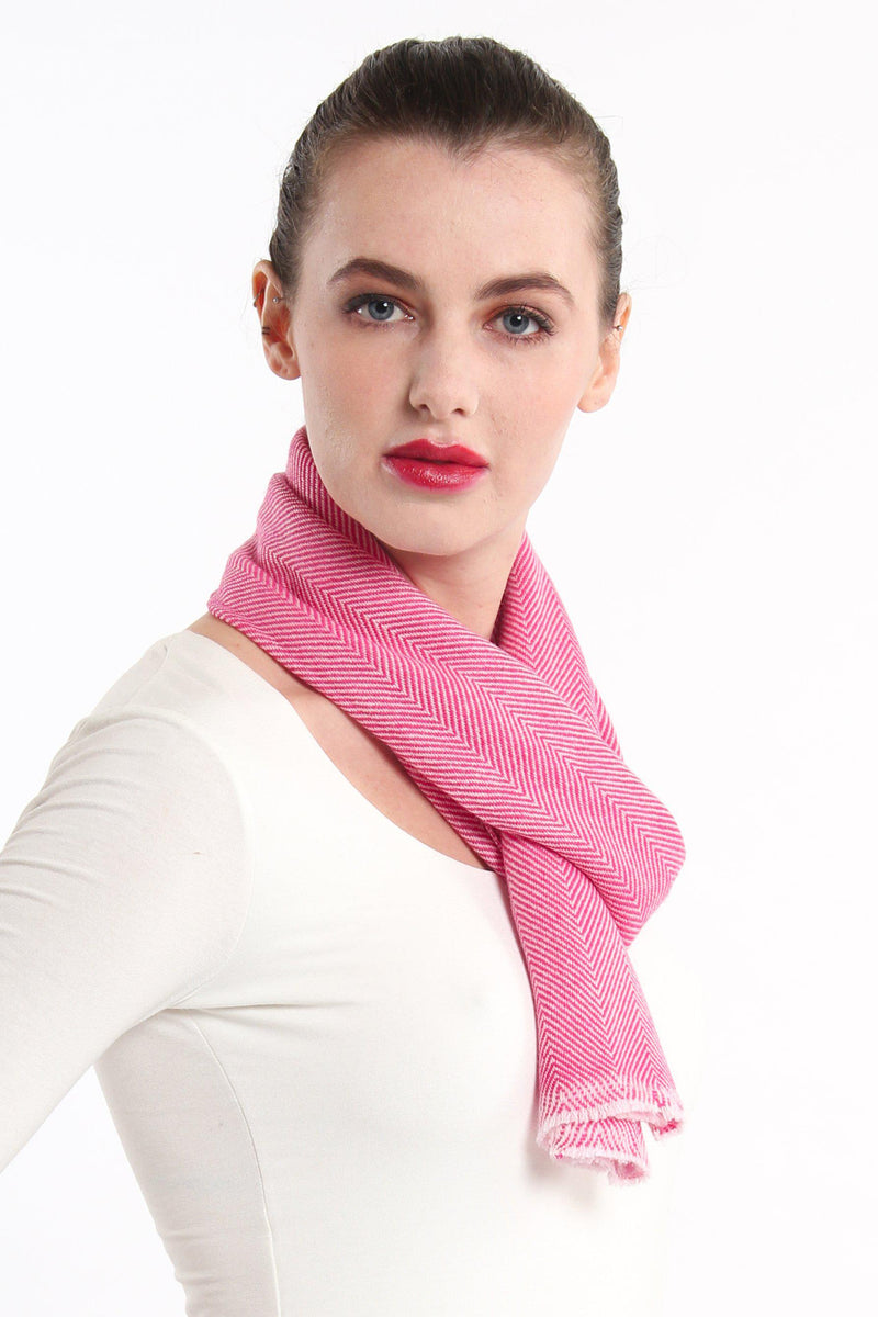 close up stylish pink  skinny 100% pure cashmere scarf