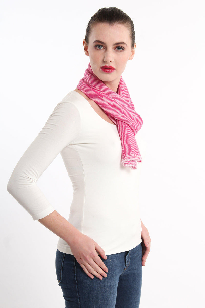 stylish pink  skinny 100% pure cashmere scarf styled tied around neck