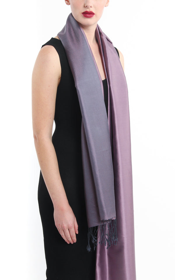 Luxury 100% pure lilac plain  pashmina with tassels free uk shipping