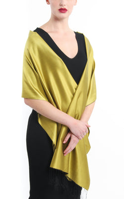 Luxury 100% pure silk bright gold  reversible pashmina draped around shoulders