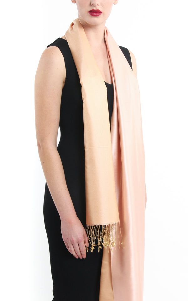 Luxury 100% pure peach plain reversible pashmina shawl with tassels free uk shipping
