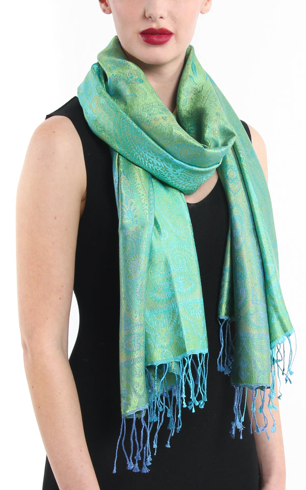 Mint green and blue paisley detailed lavish pure silk pashmina styled around neck
