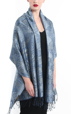 Luxury 100% pure silk sea blue molten grey reversible pashmina draped around shoulders