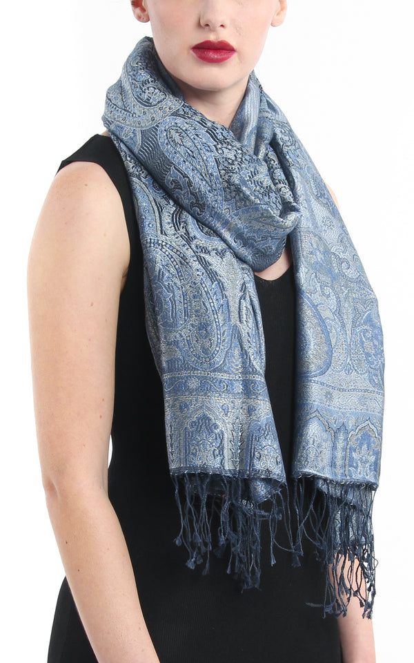 Luxury 100% pure silk sea blue molten grey reversible pashmina with tassels free uk shipping