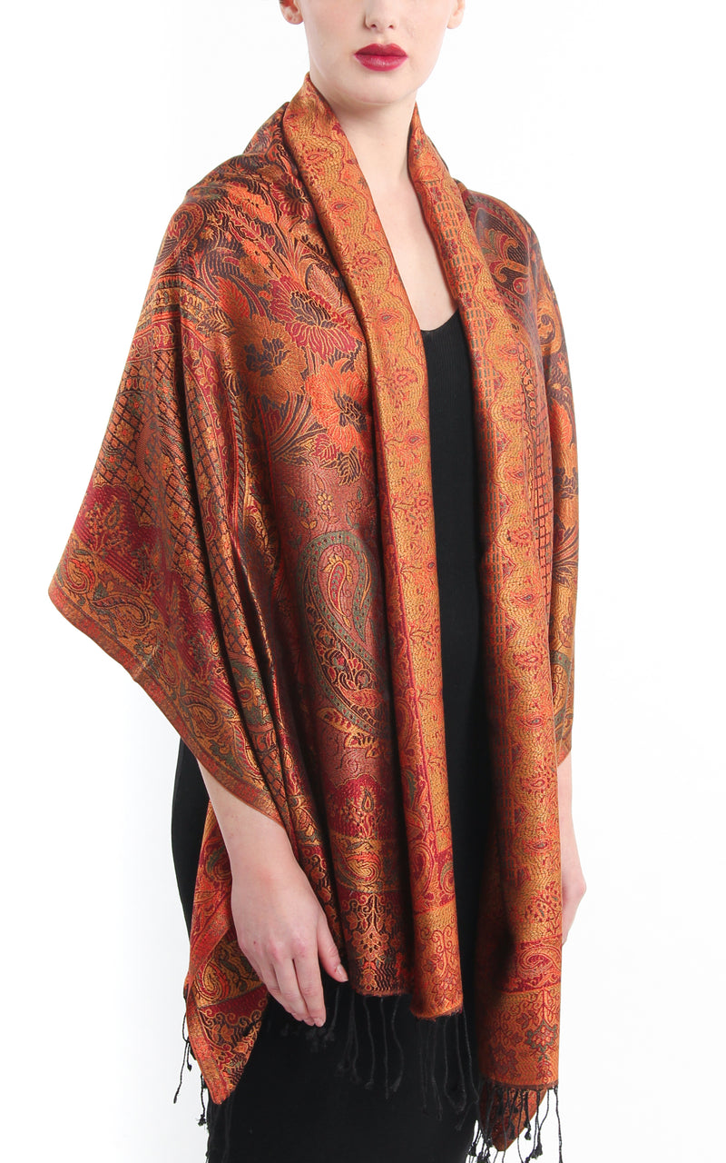 Beautiful burnt orange extravagant pure silk pashmina with paisley design and tassels