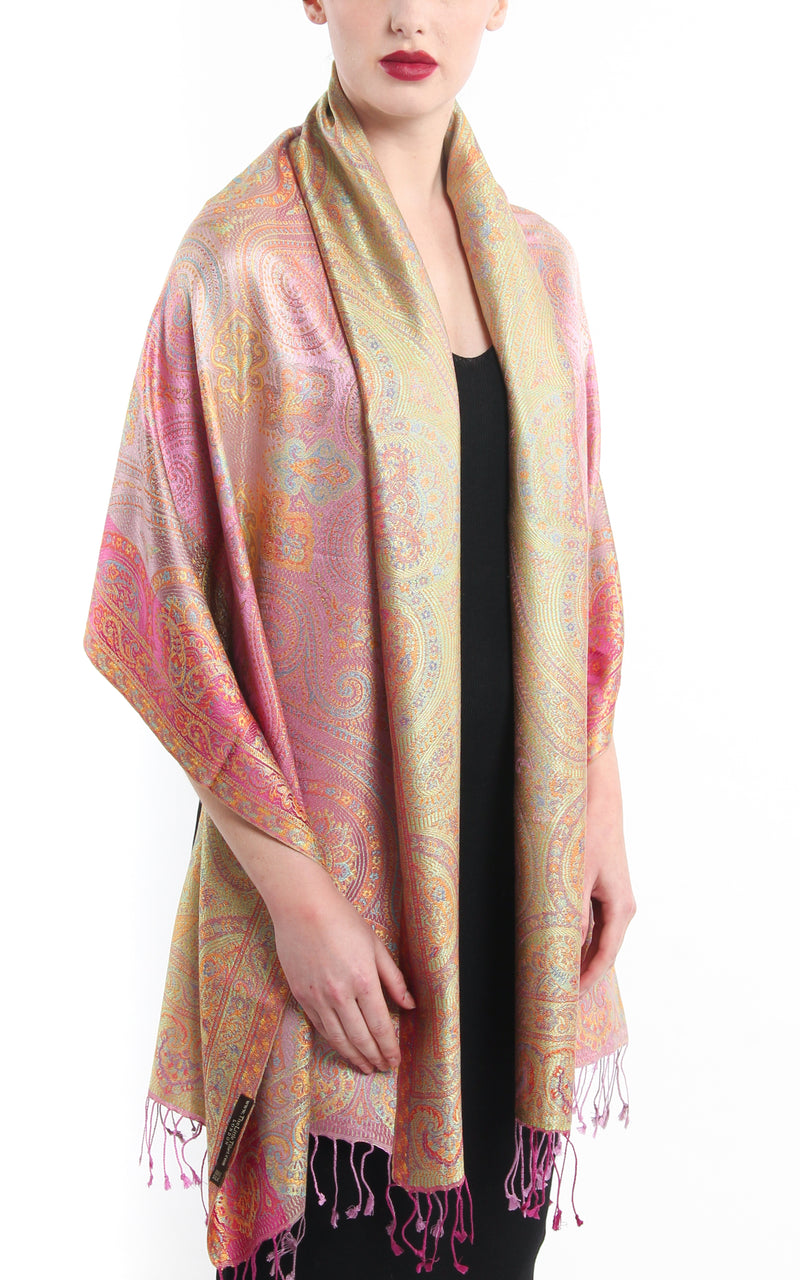 Pale Pastel Pink Paisley patterned pure silk pashmina with beautiful gold accents and tassels