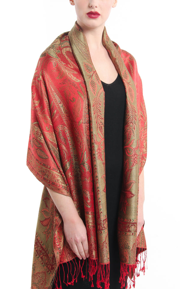 Regal Red warm toned well weaved pure silk pashmina with reversible sides